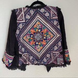 Billabong Lou Embroidered Black Cropped Jacket L